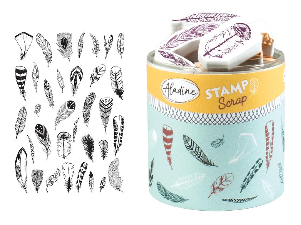Tempel Aladine Stampo Scrap 32tk Feathers + templipadi must