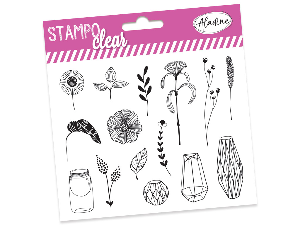 Tempel silikoonist Aladine Stampo Clear 15tk Botanic blistril