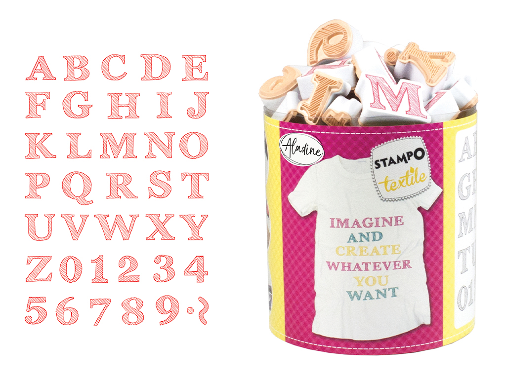 Tempel Aladine Stampo Textile 38tk Alphabet Sketch + templipadi must