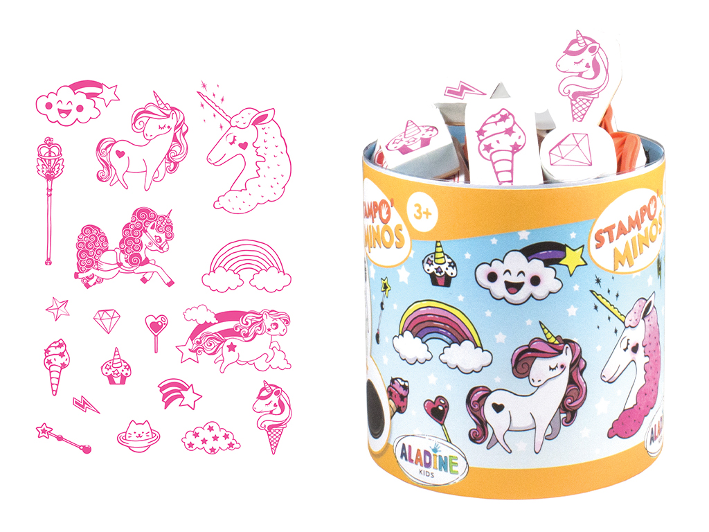 Stamp Aladine Stampo Minos 18pcs Unicorn + ink pad black