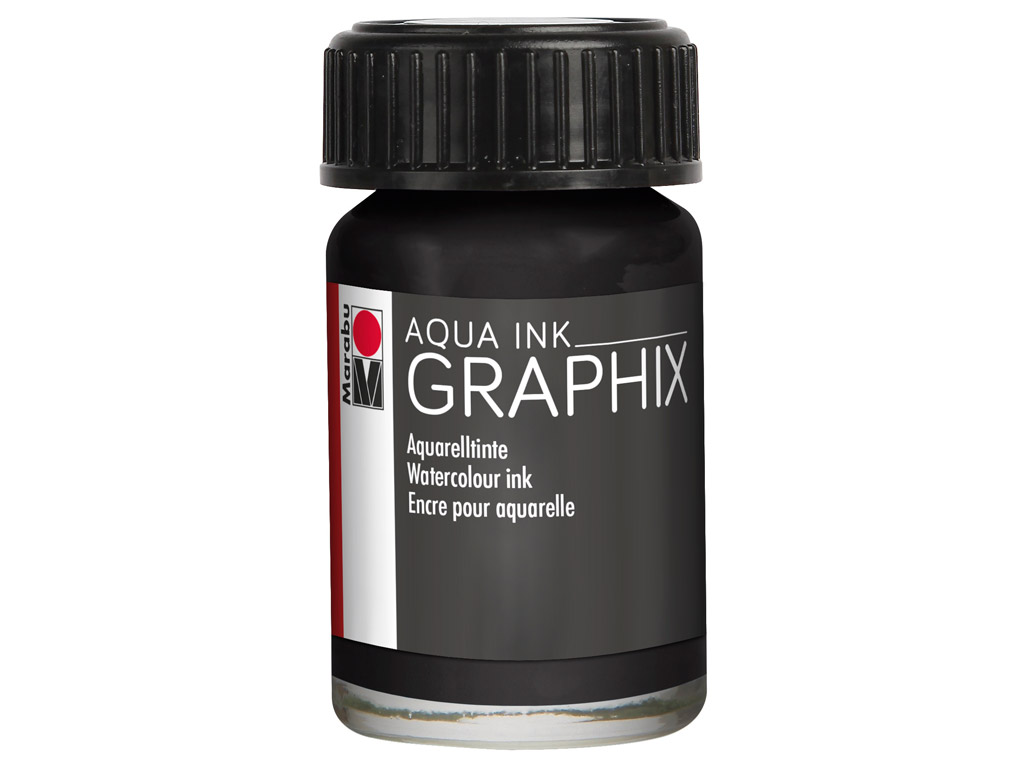 Akvareļu tinte Graphix 15ml 073 black
