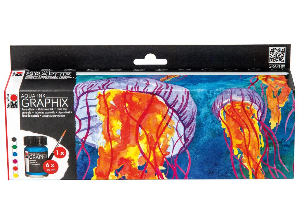 Akvarelltint Graphix 6x15ml+pintsel