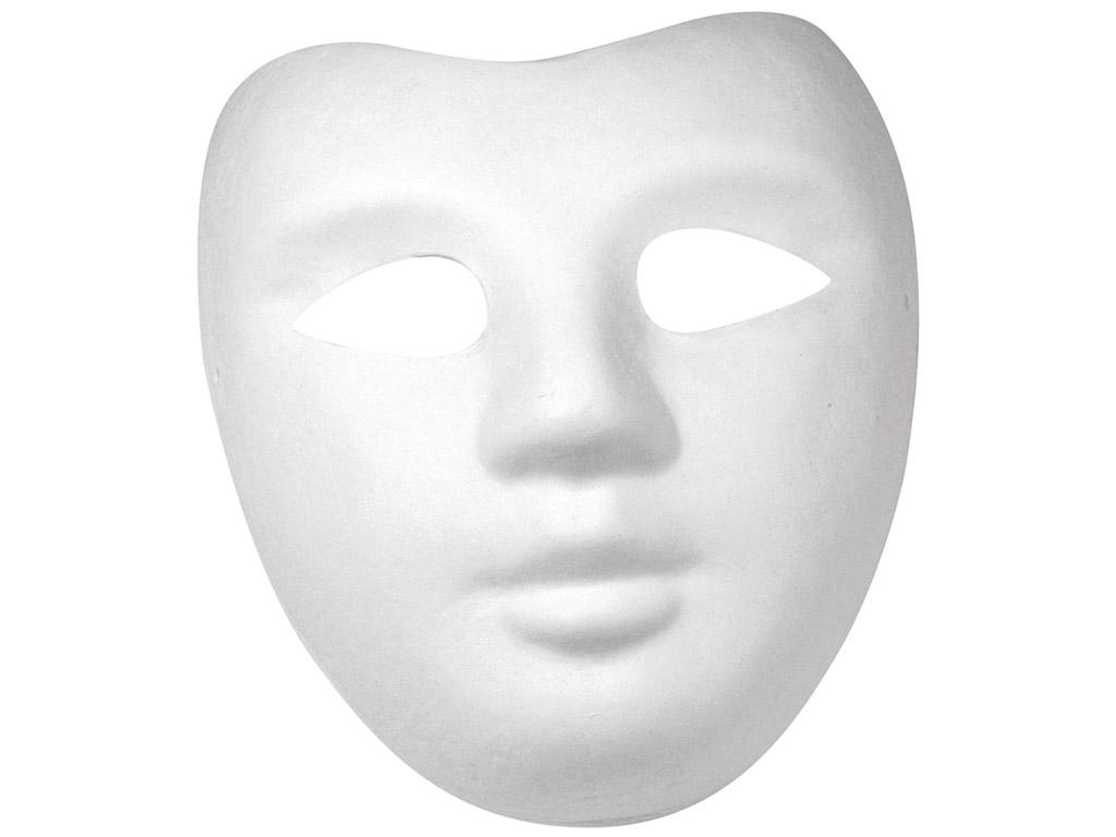 Maska kartona Rayher Face 21.5x18cm ar gumiju balta
