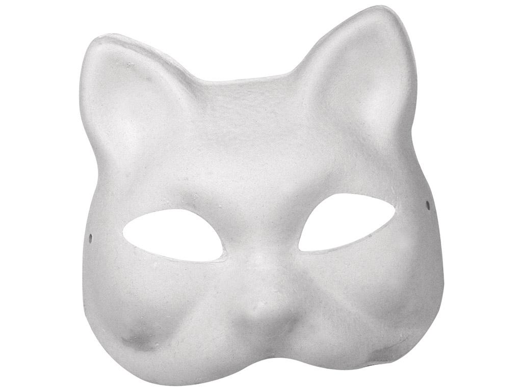 Maska kartona Rayher Cat 18x17cm ar gumiju balta