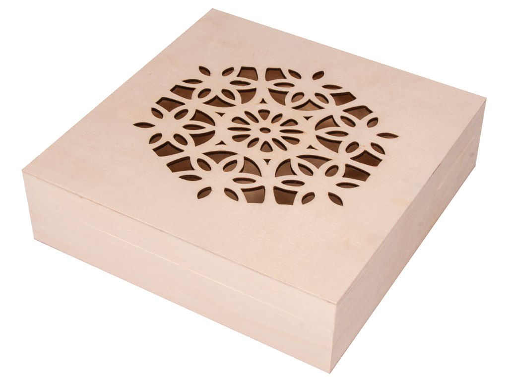 Wooden box Rayher with decorative lid 18.5x18.5x5cm with hinges