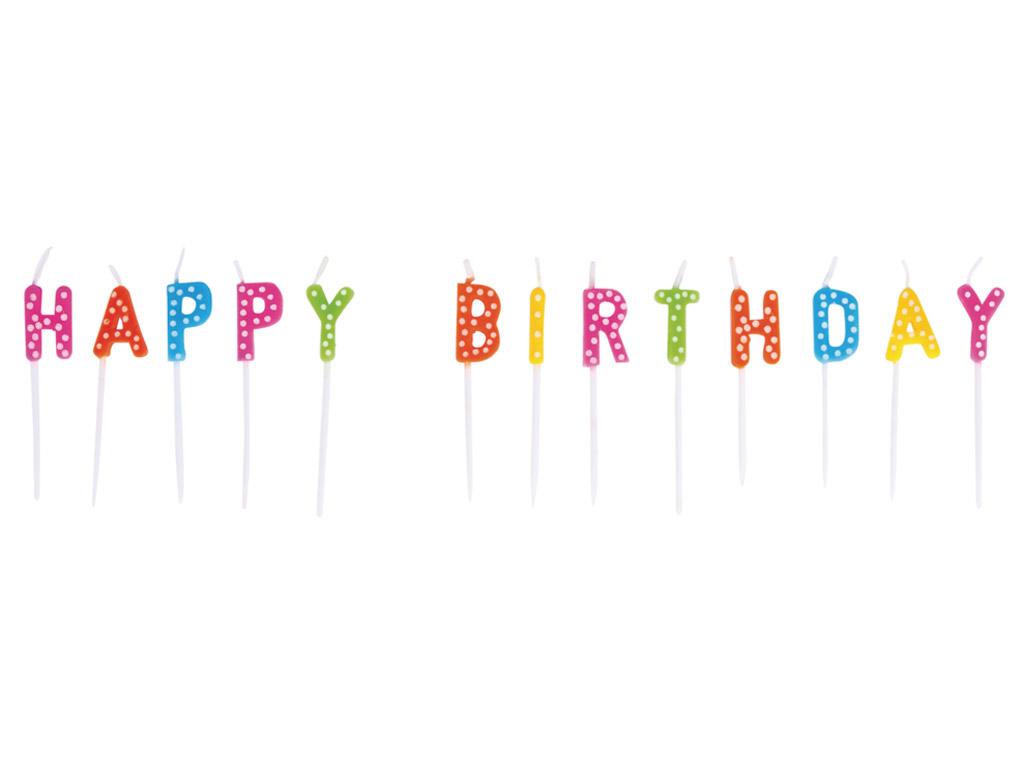 Tordiküünal Rayher Happy Birthday 1.5x7.7cm 13 tähte värviline