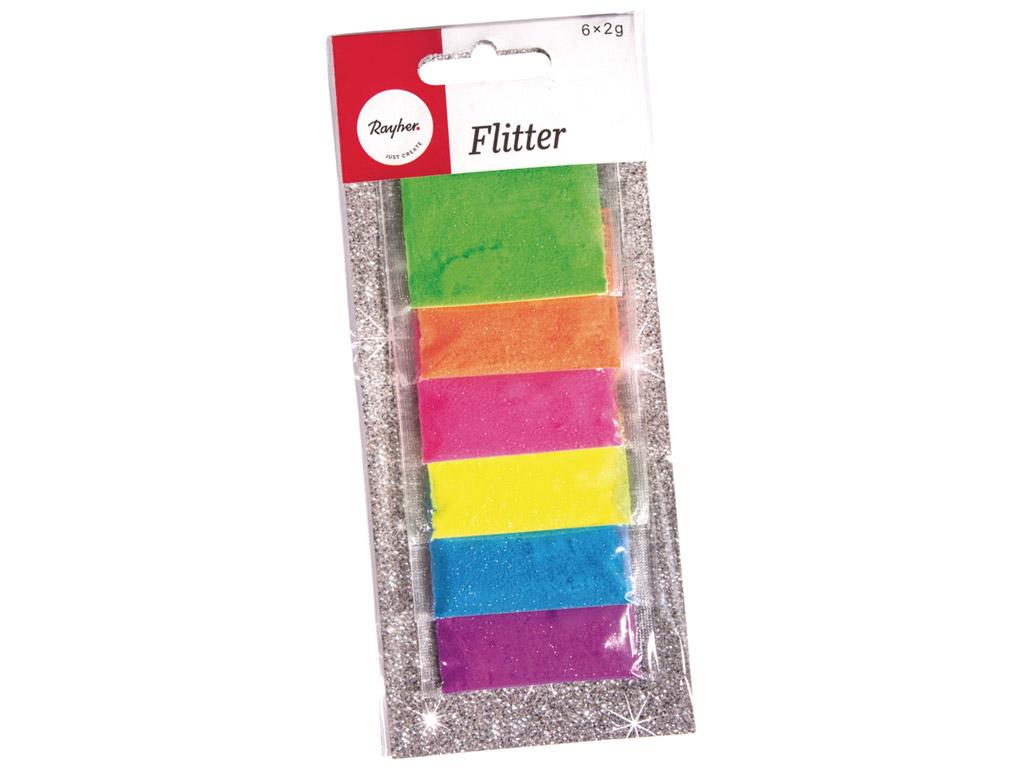 Gliteri Rayher 6x2g 6 krāsas asorti neons