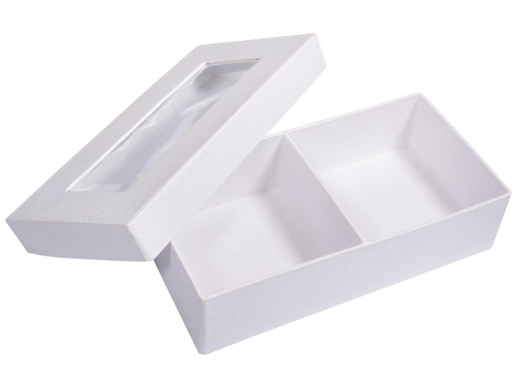 Kartoninė dėžutė Rayher kvadratas 16.5x8.5x4.5cm su langeliu ir 2 skyriais balta
