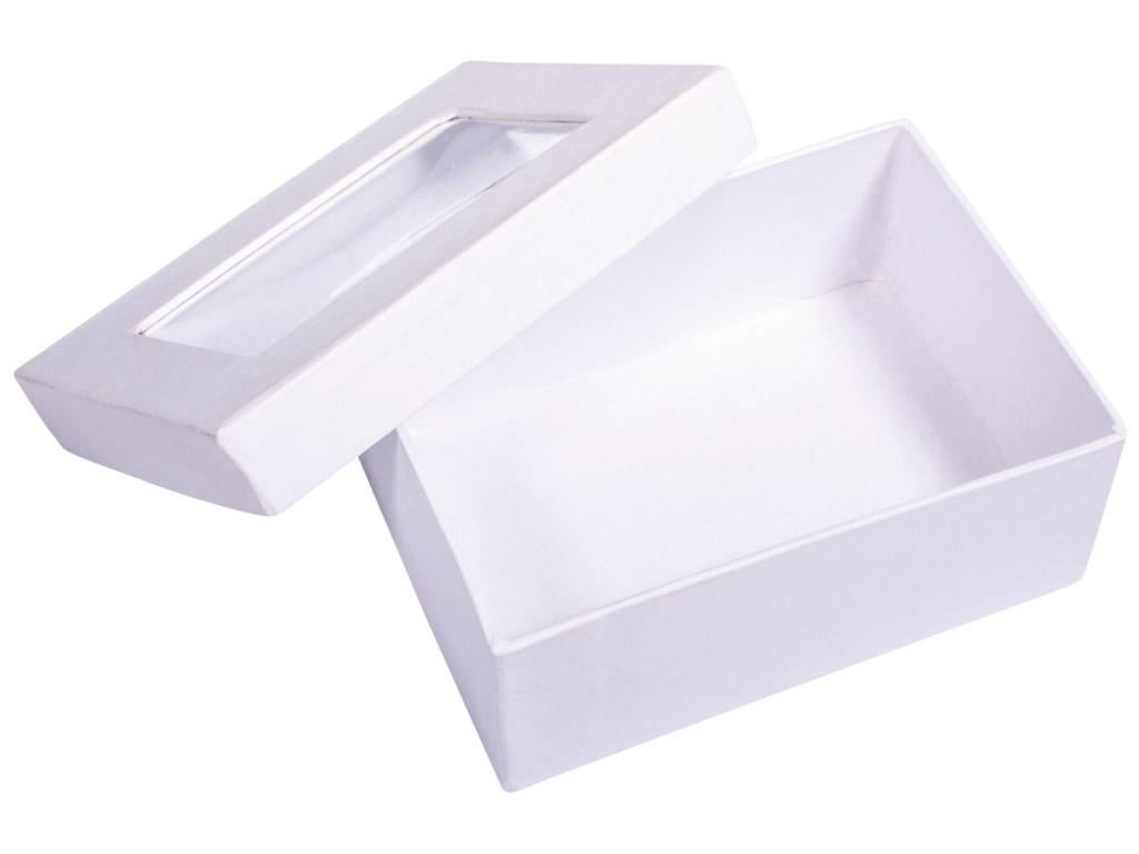 Kartoninė dėžutė Rayher kvadratas 10.5x7.7x4.4cm su langeliu balta