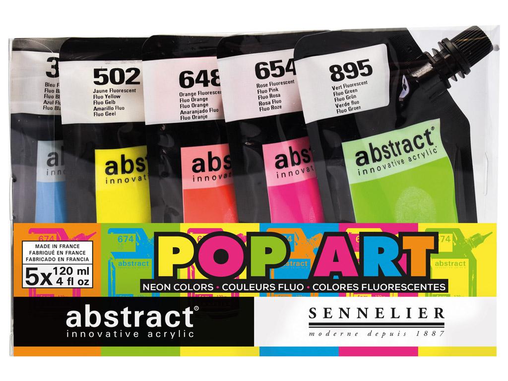 Akriliniai dažai Abstract 5x120ml Pop Art (Fluo)