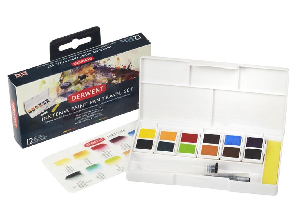 Akvarellvärv Inktense Travel Set #01 12x1/2 nööpi+pintsel veehoidjaga