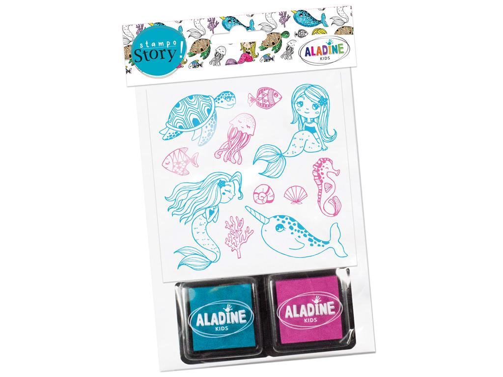 Spaudas Aladine Stampo Story 11vnt. Sirene + pagalvėlė antspaudams (2vnt.) blister.