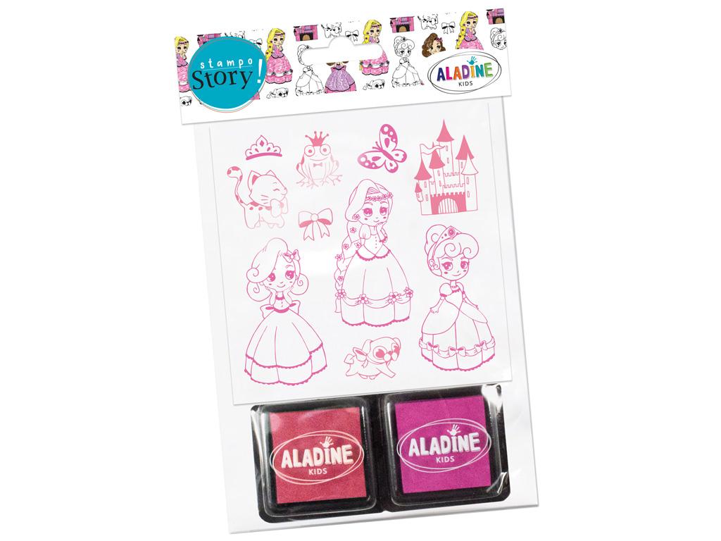 Spaudas Aladine Stampo Story 10vnt. Princesses + pagalvėlė antspaudams (2vnt.) blister.