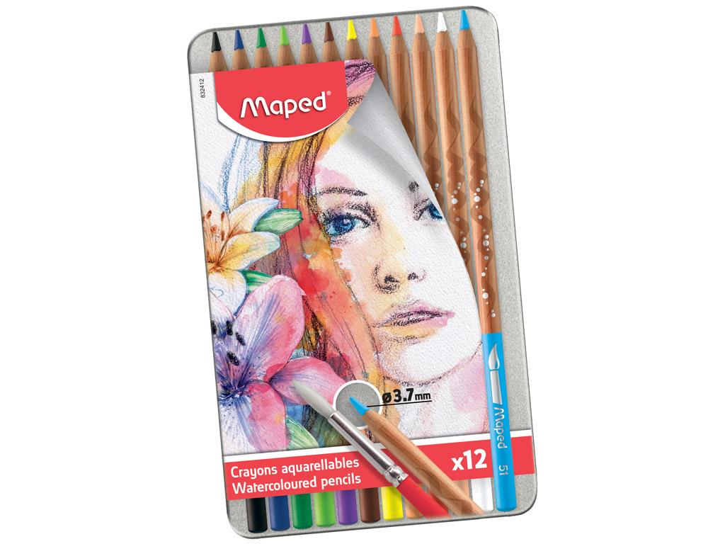 Krāsainie zīmuļi Maped Artist 12gab. metāla kastē