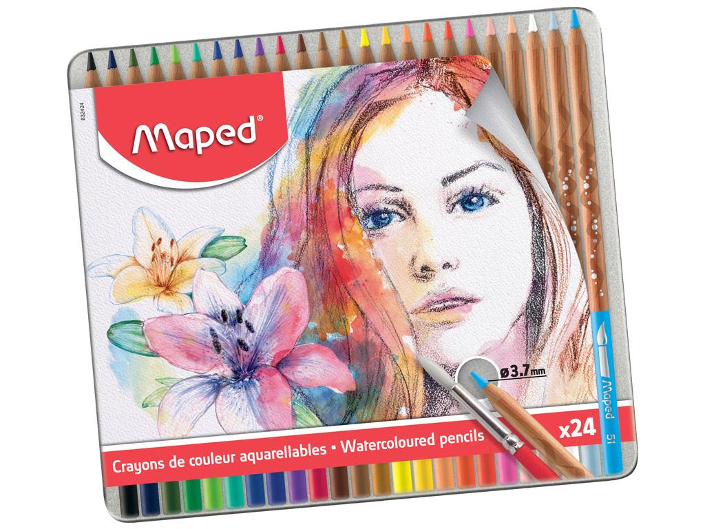 Krāsainie zīmuļi Maped Artist 24gab. metāla kastē