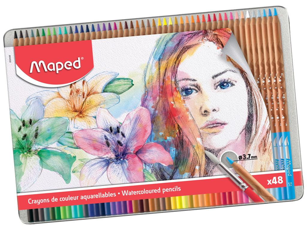 Krāsainie zīmuļi Maped Artist 48gab. metāla kastē