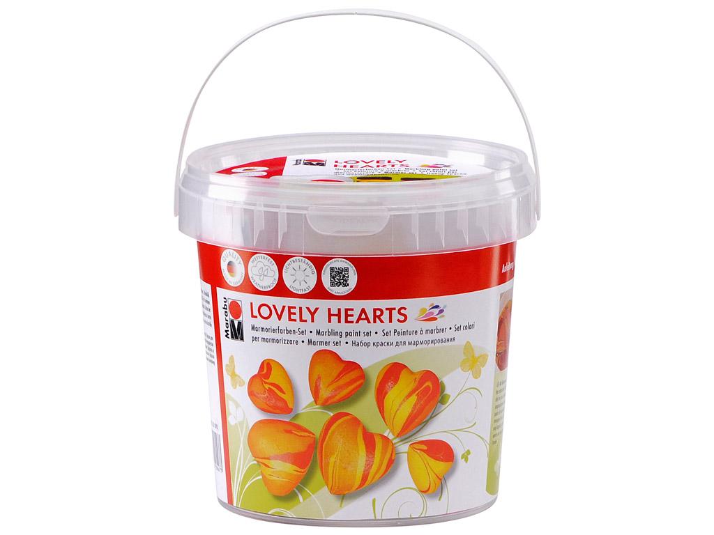 Dažai marmuriniam efektui sukurti rinkinys Lovely Hearts