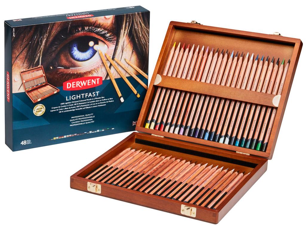 Spalvotas pieštukas Lightfast 48vnt. medinė dėžutė