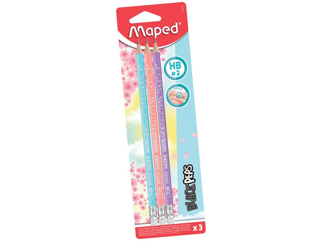 Harilik pliiats BlackPeps Pastel kolmekandiline HB kummiga 3tk blistril