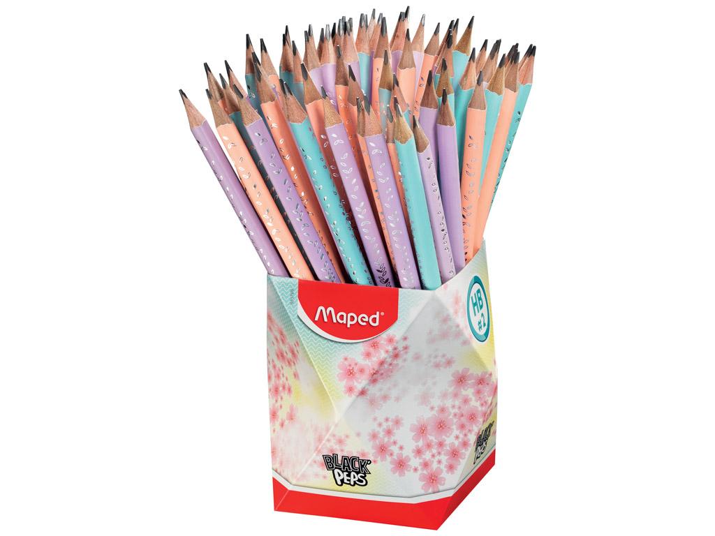 Harilik pliiats BlackPeps Pastel kolmekandiline HB kummiga 72tk topsis