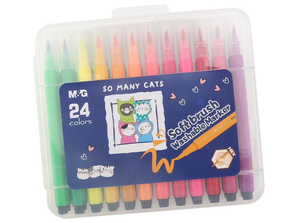 Felt pen M&G So Many Cats Brush 24pcs in plastic box