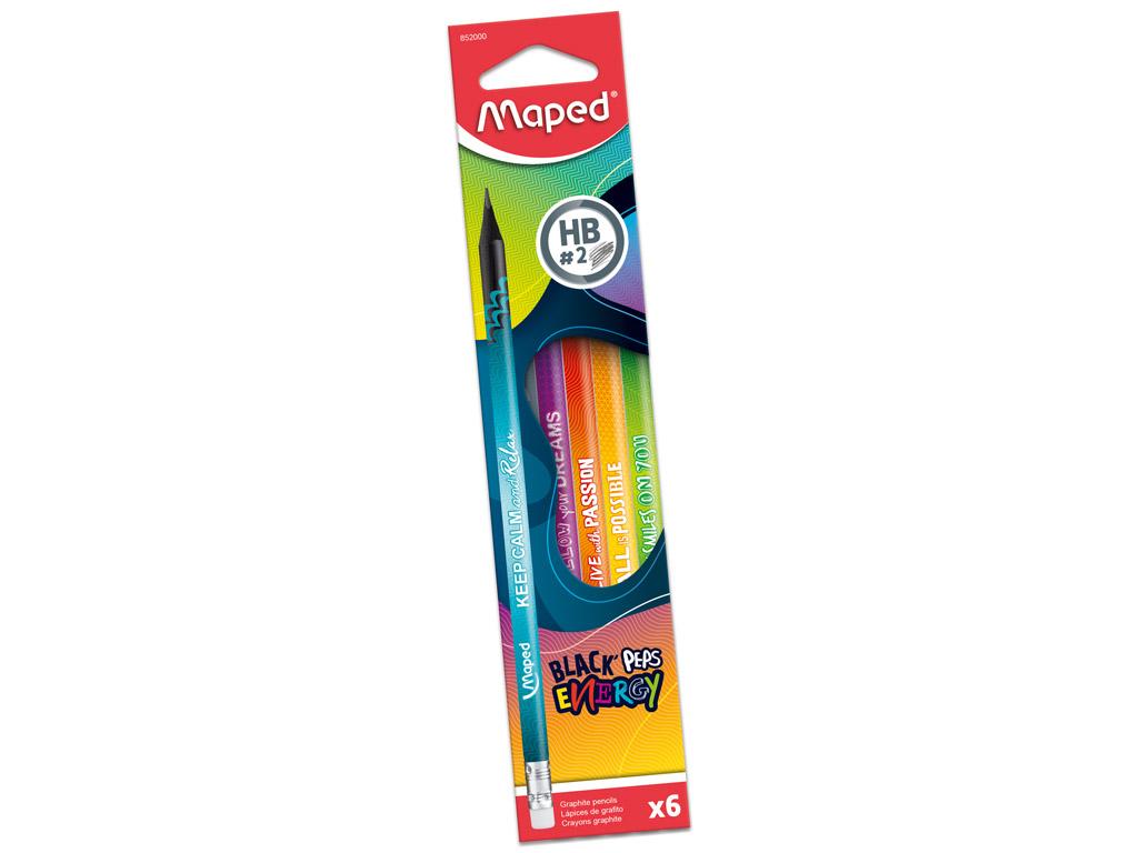 Harilik pliiats puiduvaba BlackPeps Energy kolmekandiline HB kummiga 6tk