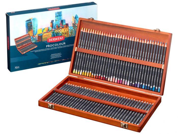 Colour pencils Derwent Procolour in wooden box - 1/5