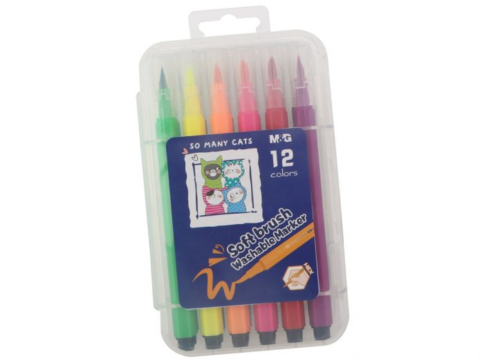 Felt pen M&G So Many Cats Brush in plastic box - 1/2