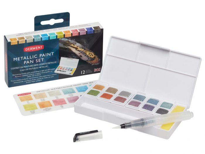 Watercolour half pan set Derwent Metallic - 1/3